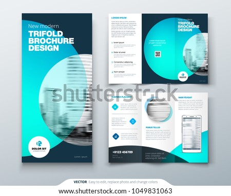 Tri fold brochure design. Teal, orange corporate business template for tri fold flyer. Layout with modern circle photo and abstract background. Creative concept 3 folded flyer or brochure.