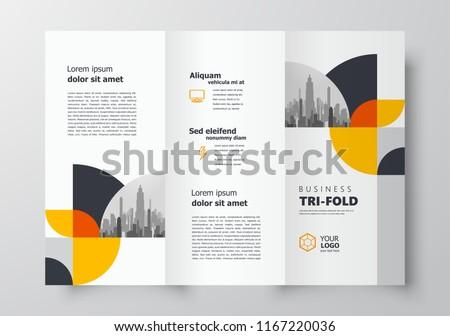 Tri-fold brochure design template business cover geometric theme circles