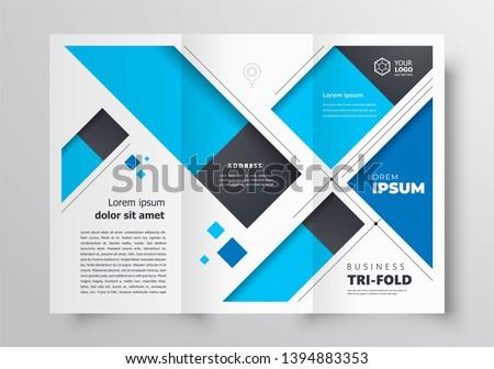 Tri-fold brochure design template stripes blue color business cover