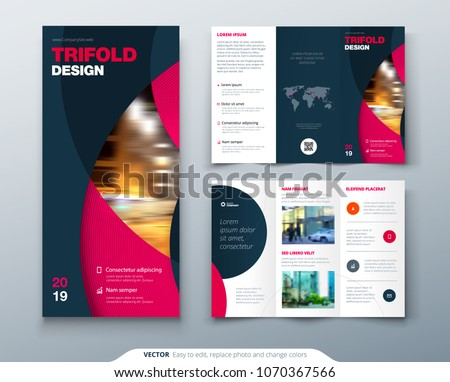 Tri fold brochure design with circle, corporate business template for tri fold flyer. Layout with modern photo and abstract circle background. Creative concept folded flyer or brochure.
