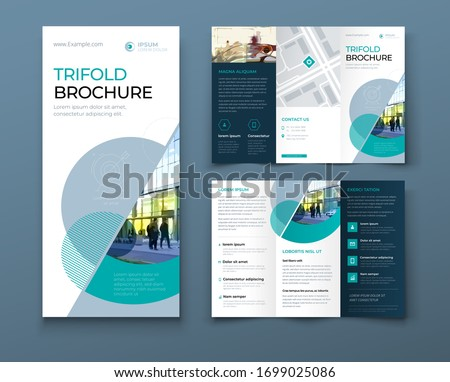 Tri fold brochure design with circle, corporate business template for tri fold flyer. Layout with modern photo and abstract circle background. Creative concept folded flyer or brochure. Foto stock ©