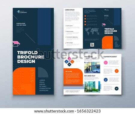 Tri fold brochure design with line shapes, corporate business template for tri fold flyer. Creative concept folded flyer or brochure.