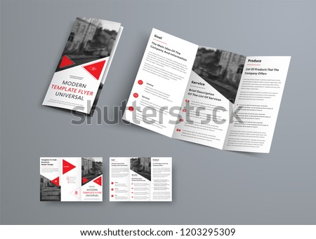 Tri-fold brochure template in modern style with red triangles and space for photo. Universal white design for business advertising. Vector Illustration