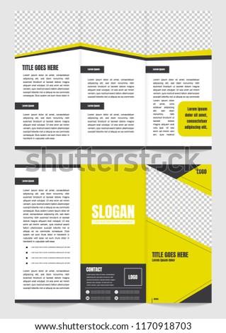 Tri-fold brochure template yellow theme