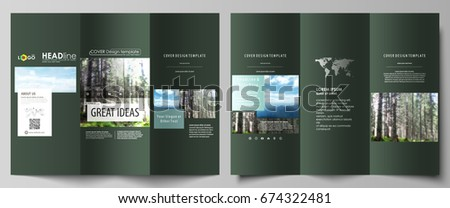 Tri-fold brochure templates on both sides. Abstract vector layout in flat design. Colorful background made of triangular or hexagonal texture for travel business, natural landscape in polygonal style.
