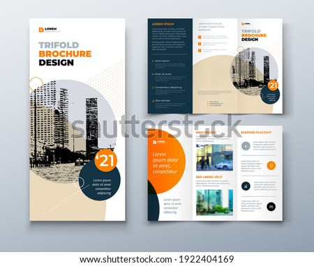 tri fold orange brochure design