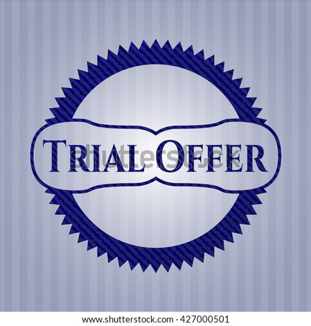 Trial Offer badge with denim texture