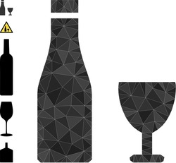 Triangle alcohol drinks polygonal 2d illustration, and similar icons. Alcohol Drinks is filled with triangles. Low-poly alcohol drinks combined of random filled triangles.