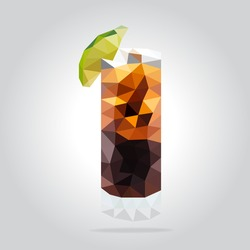 Triangle cocktail vector illustration. Polygon cocktail icon