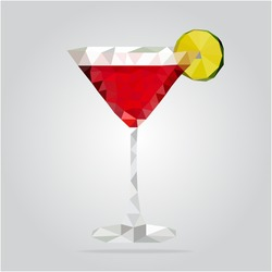 Triangle cosmopolitan cocktail vector illustration. Polygon cocktail icon