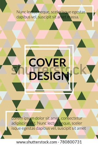 Triangle Cover Design.  Background with Triangle Shapes of Different colors. Template for Business Broshure, Cover Book, Magazine, Leaflet, Booklet. Amazing Template for Your Design
