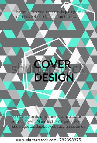 Triangle Cover Design.  Background with Triangle Shapes of Different colors. Template for Business Broshure, Cover Book, Flyer, Card. Amazing Template for Your Design