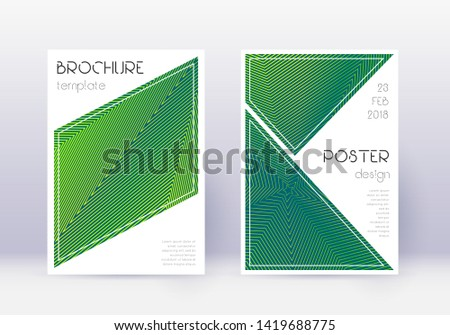 Triangle cover design template set. Green abstract lines on dark background. Ideal cover design. Amazing catalog, poster, book template etc.