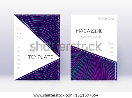 Triangle cover design template set. Neon abstract lines on dark blue background. Incredible cover design. Amazing catalog, poster, book template etc.