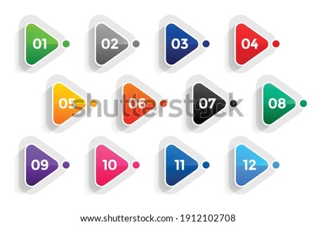 triangle directional bullet points numbers from one to twelve Stock foto ©