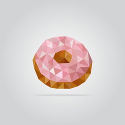 Triangle donut vector illustration. Polygon pink doughnut icon.