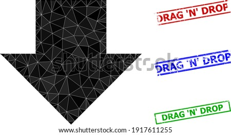 Triangle download arrow polygonal symbol illustration, and rubber simple Drag 'N' Drop stamp seals. Download Arrow icon is filled with triangles. Simple seals uses lines, rects in red, blue, Foto stock ©