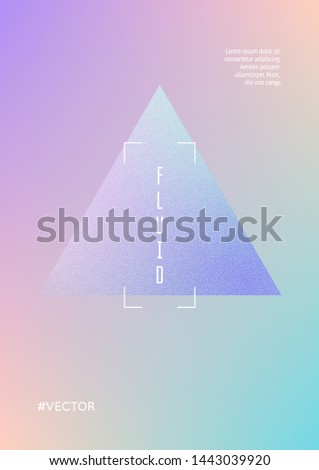 Triangle fluid with hologram shapes. Gradient triangles on holographic background. Modern hipster template for placards, banners, flyers, cover, brochure. Minimal triangle fluid in vibrant neon colors