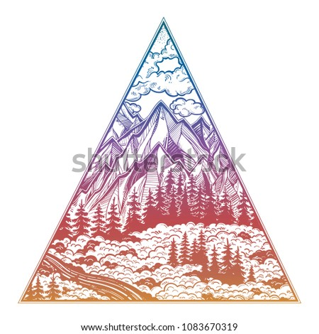 Triangle frame artwork with wilderness landscape scene with a lake, road, pine forest and mountains. Vector illustration isolated. Outdoors nature. Adventure artwork for travel and wanderlust tattoo.
