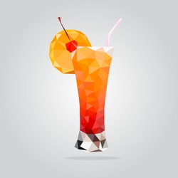 Triangle fruit cocktail vector illustration. Polygon cocktail icon