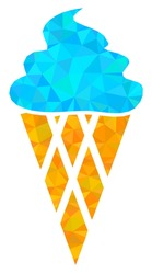 Triangle icecream polygonal icon illustration. Icecream lowpoly icon is filled with triangles. Flat filled geometric mesh image based on icecream icon.
