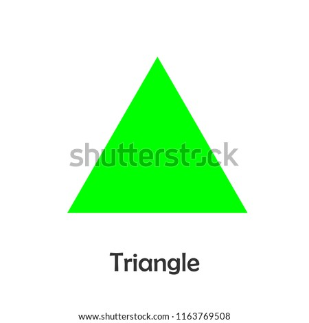 Triangle in cartoon style, card with geometric shape for kid, preschool activity for children, vector illustration