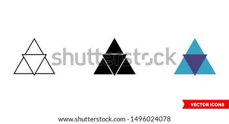 Triangle in triangle icon of 3 types: color, black and white, outline. Isolated vector sign symbol.