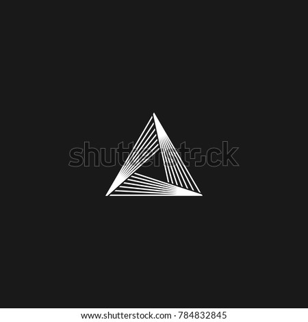 Triangle logo linear infinity geometric pyramid shape, black and white overlapping thin lines hipster monogram minimal style infinite icon