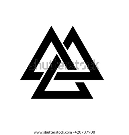 Triangle logo. Valknut is a Viking Age symbol, which representing Norse warrior culture. geometry. White background. Stock vector.