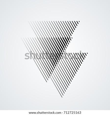 Triangle Logo with lines.Square unusual icon Design .Black Vector stripes .Geometric shape.