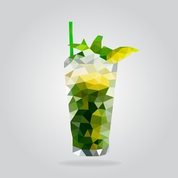 Triangle mohito cocktail vector illustration. Polygon cocktail icon