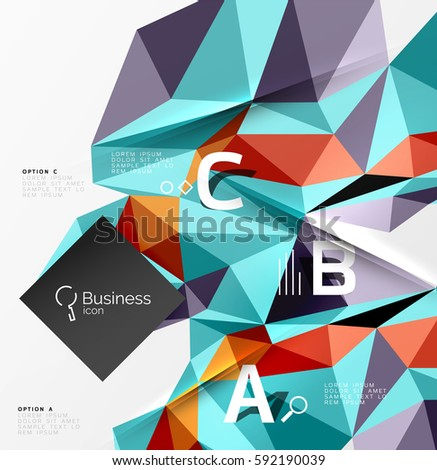 Triangle mosaic vector abstract template. Vector abstract background for workflow layout, diagram, number options or web design