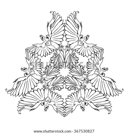 triangle ornament of flying dove birds pigeon coloring page in mandala shape arrangement black - Triangle Instrument Coloring Page