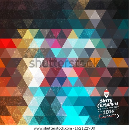 Triangle pattern background with Christmas label. Retro vintage card. Hipster background with geometric shapes.