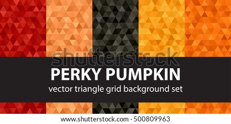 "Triangle pattern set ""Perky Pumpkin"". Vector seamless geometric backgrounds"