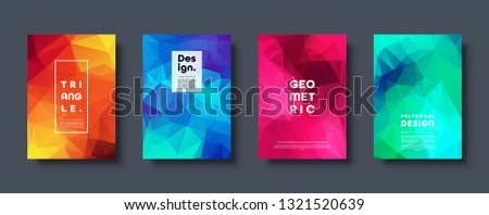 Triangle polygonal abstract background. Colorful gradient design. Low poly shape banner. Vector illustration. #1321520639