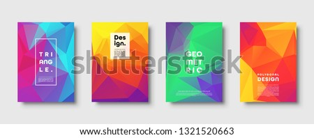 Triangle polygonal abstract background. Colorful gradient design. Low poly shape banner. Vector illustration. #1321520663