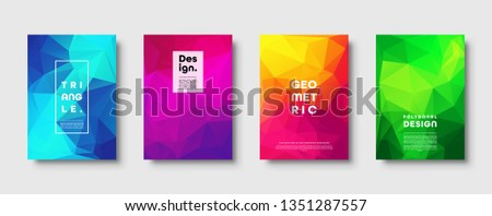 Triangle polygonal abstract background. Colorful gradient design. Low poly shape banner. Vector illustration. #1351287557