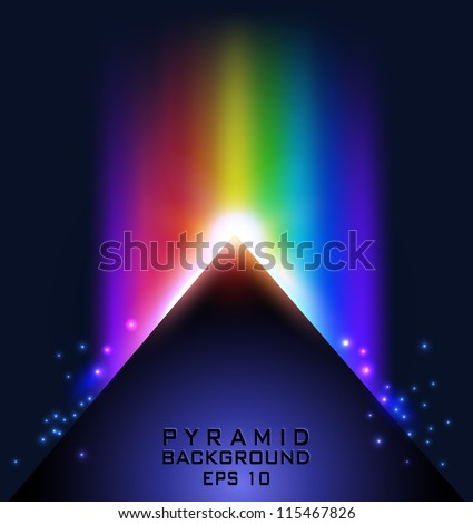 Triangle/pyramid with rainbow and particles on dark background - vector illustration for your business presentations.