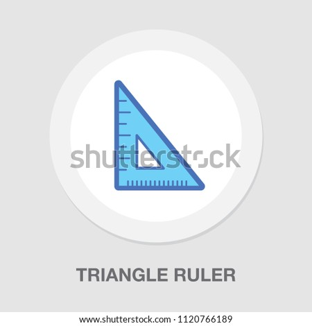 triangle ruler icon, school illustration - education icon, measurement scale tool