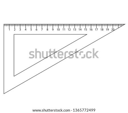 Triangle rulers and protractor, rulers marked in centimeters and inches