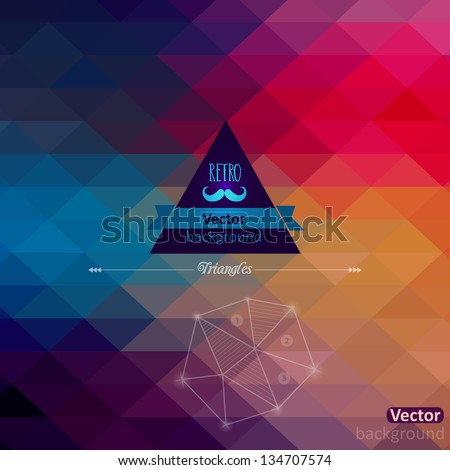 Triangle seamless background. Retro label design. Infographics composition with geometric shapes.Pattern on the back is complete. Vector file has few layers for easy using.