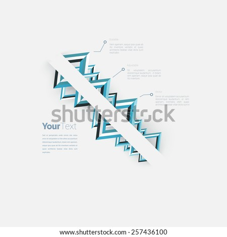 Triangle Shapes Ordered on a Corporate Style Blue Name Card or Presentation Chart Vector Concept Infographic Page Layout Graphics Elements. Scalable EPS10 Illustration