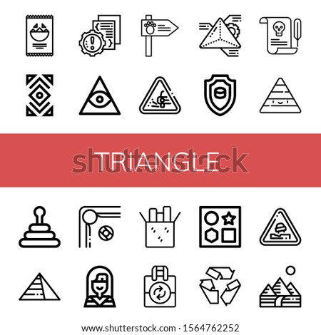triangle simple icons set. Contains such icons as Nachos, Abstract, Error, Freemasonry, Road sign, Loose gravel, Geometry, Emblem, Letter, can be used for web, mobile and logo