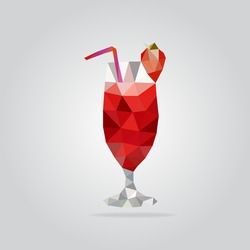 Triangle strawberry cocktail vector illustration. Polygon cocktail icon
