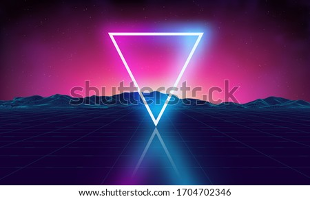 Triangle synthwave Retro futuristic background game grid. Music 3d dance galaxy poster. 80s background disco. Neon digital triangle synthwave wireframe landscape. Space vector.