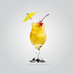 Triangle yellow cocktail vector illustration. Polygon cocktail icon