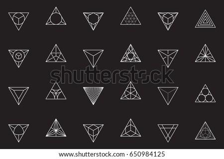 Triangles, icon set. Line design, vector illustration