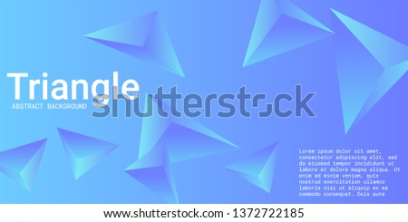 Triangular background. Abstract composition of 3d triangles. 3D vector illustration . Creative geometric background.  Blue  three-dimensional triangle in space.
