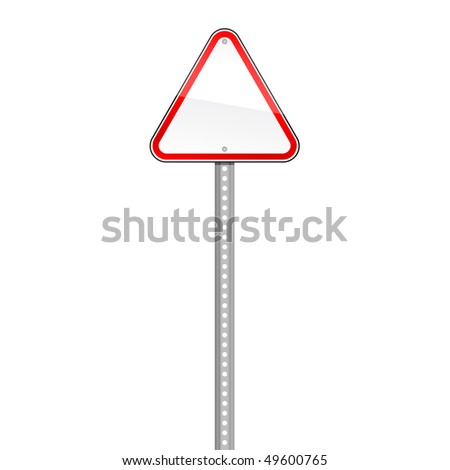 Triangular blank red road signs with pole on white